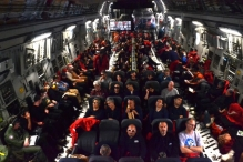 View from inside our C-17 flight. No comforts, no in-flight entertainment.(Nov 2011)